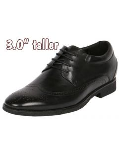 """Handsome Leather Shapes a Punching Wingtip with 3"""" Height Elevation, CYD21BL"""
