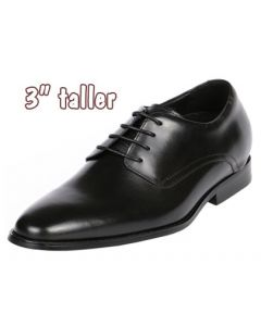 """Sleek With Classic Black Plain Leather By 3"""" Height Increasing, CYD48BL"""