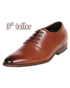 """Burnished Sleek Brown Plain Leather Derby By 3"""" Height Increasing, CYD48BR"""