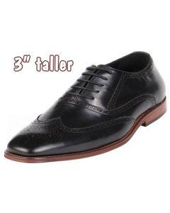 "Semi-Brogue Height Increasing Gentlemen Shoes 3"" Tall, CYD82BL"