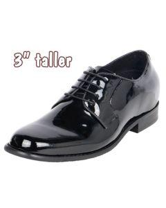 "High Gloss Men's Uniform Height Increasing Dress Shoes 3"" Tall, CYT09"