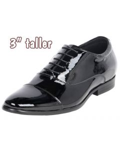 """Patent Leather Built Up Formal Gentlemen Shoe 3"""" Tall, CYT59"""