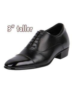 Mens Cuban High Heels Semi Glossy Black Shoes for Work & Formal Dressy