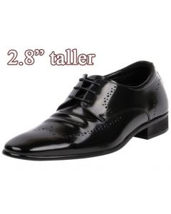 """Wingtip Comfy Gentlemen Glossy Leather Dress Shoes 2.8"""" Tall JW501"""