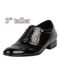 "Semi Glossy Gentlemen Formal Dressy Shoes Make 3"" Extra Tall, KL609 (EE)"