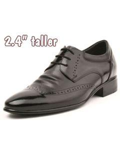 "Gentleman Comfy Height Increasing Dress Shoes 2.4"" Tall, KL9636BL"