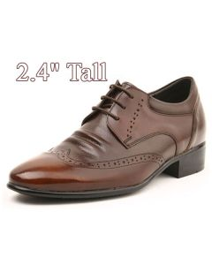 """Men's Height Heels Wing Tip Leather Brown Shoes 2.4"""" Tall, KL636BR"""