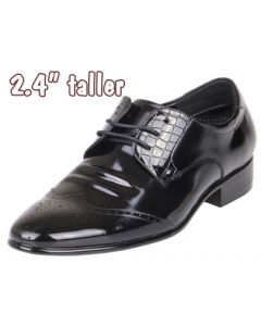"""Men's Height Heels Glossy Wing Tip Leather Black Shoes 2.4"""" Tall, KL633"""