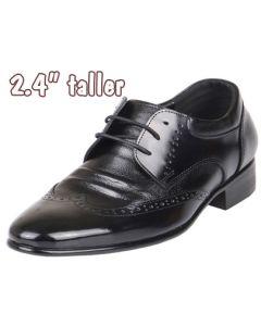 "Men's Height Increasing Dress Heel Shoes 2.4"" Tall, KL636BL"