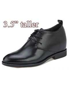 KN21, 3.5 Inch Height Increasing Plain Toe Derby Pioneer Men Shoes, Semi Gloss