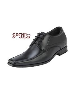 KN31, 3 Inch Height Increasing Slim Square Toe Open Lacing Men Shoes, Semi Gloss