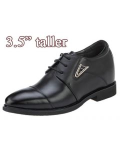 KN61, 3.5 Inch Height Increasing Cap Toe Derby Optimazation Men Shoes, Semi Gloss