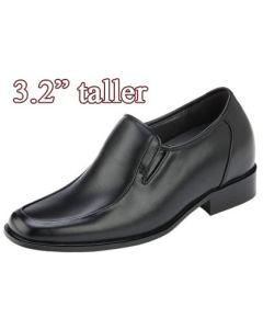 KN81, 3.2 Inch Elevator Slip On Loafer Shoes Escorting Men Business Attire, Semi Gloss