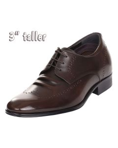 """Men's High Heels Wide Comfy Brown Derby Leather Dress Shoes 3"""" Tall RJW502"""