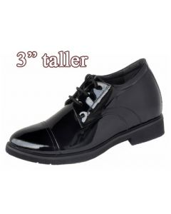 Officer's Uniform Dress Shoes Extra Height with High Heel Lifts, Hidden & Secure, SKD311