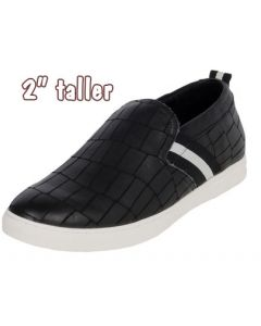 """Leather Casual Slip-On Versatile Cool Style Shoe 2"""" Tall, TC811"""