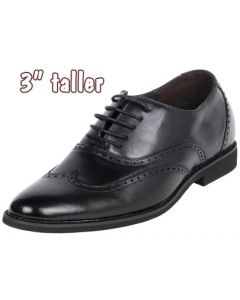 """Royal Wing Tip Classic Broguing Stylish Gentlemen Shoe 3"""" Height Tall, TD955"""