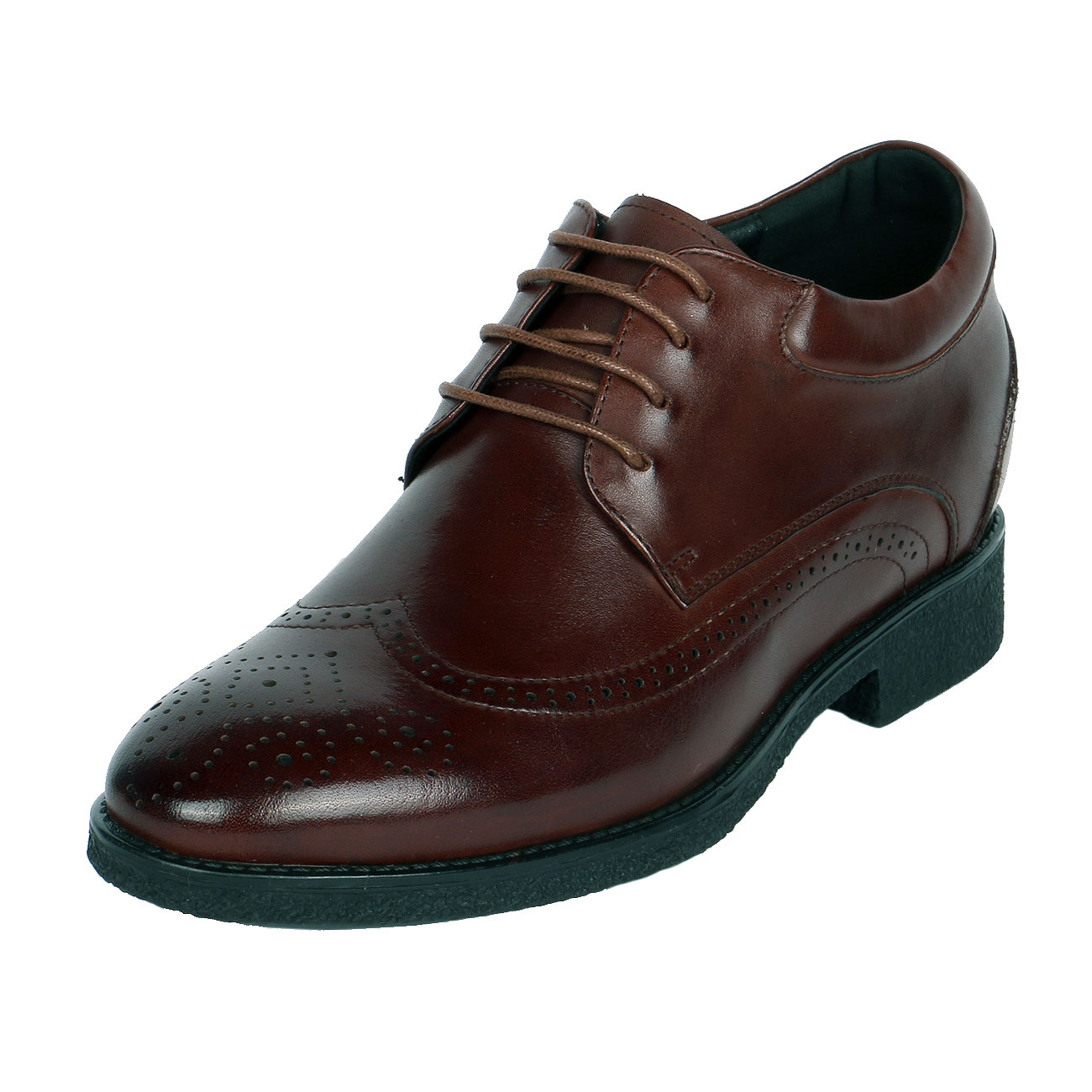 Brown Leather Punching Detail Wingtip with 3