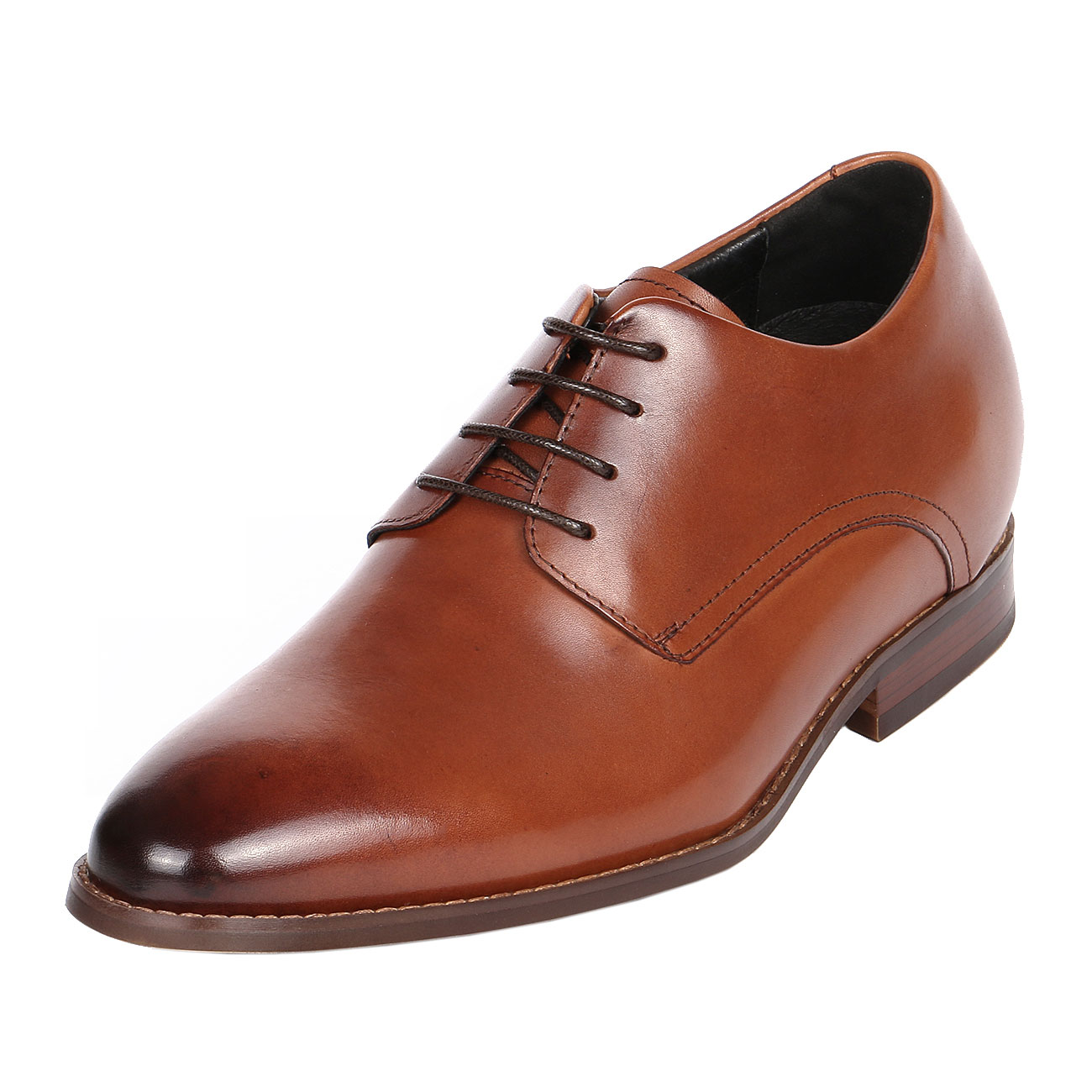 Burnished Sleek Brown Plain Leather Derby By 3