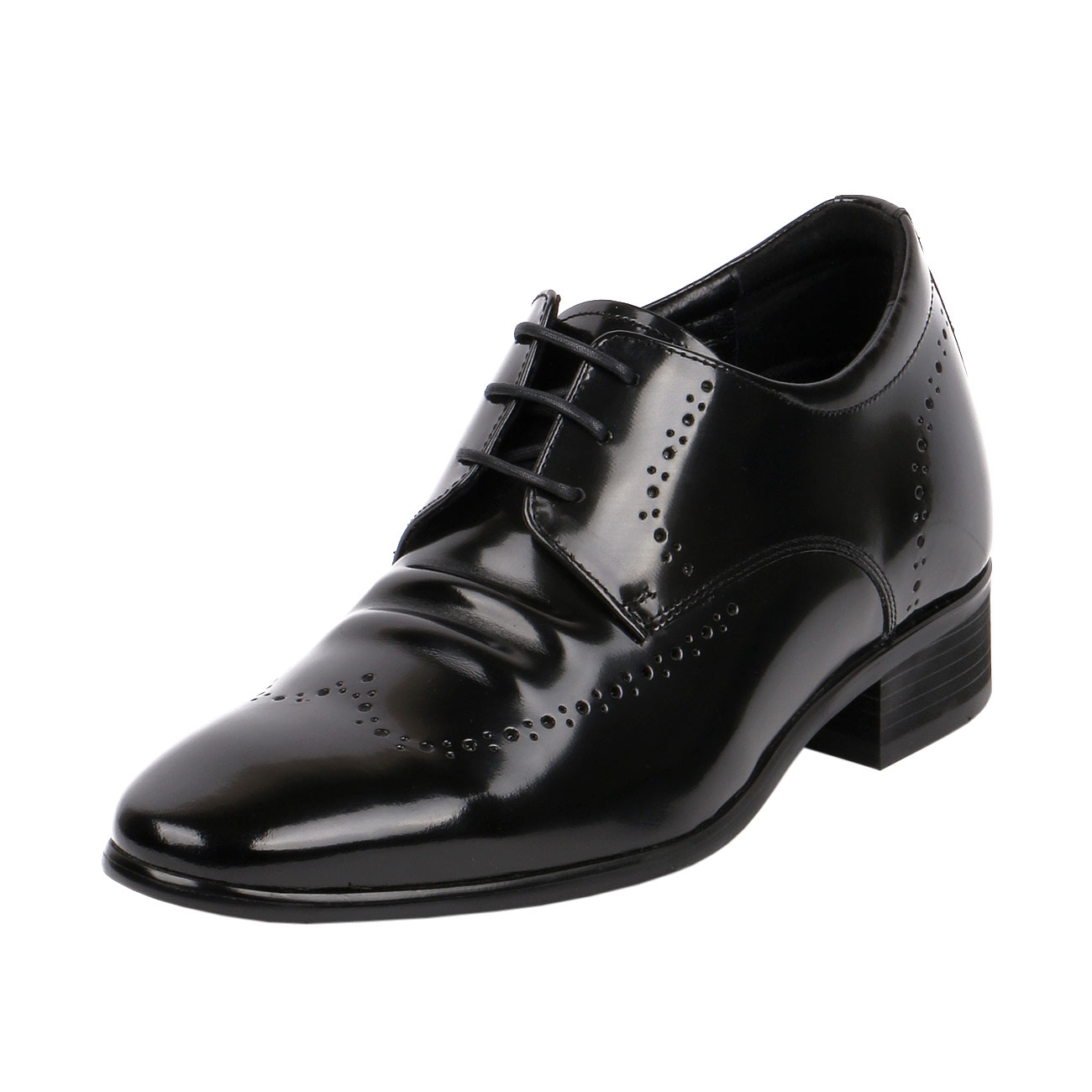Fusion Wingtip Derby Style Decorative Punching Gentlemen Glossy Leather with Elongated Pointy JW501-1