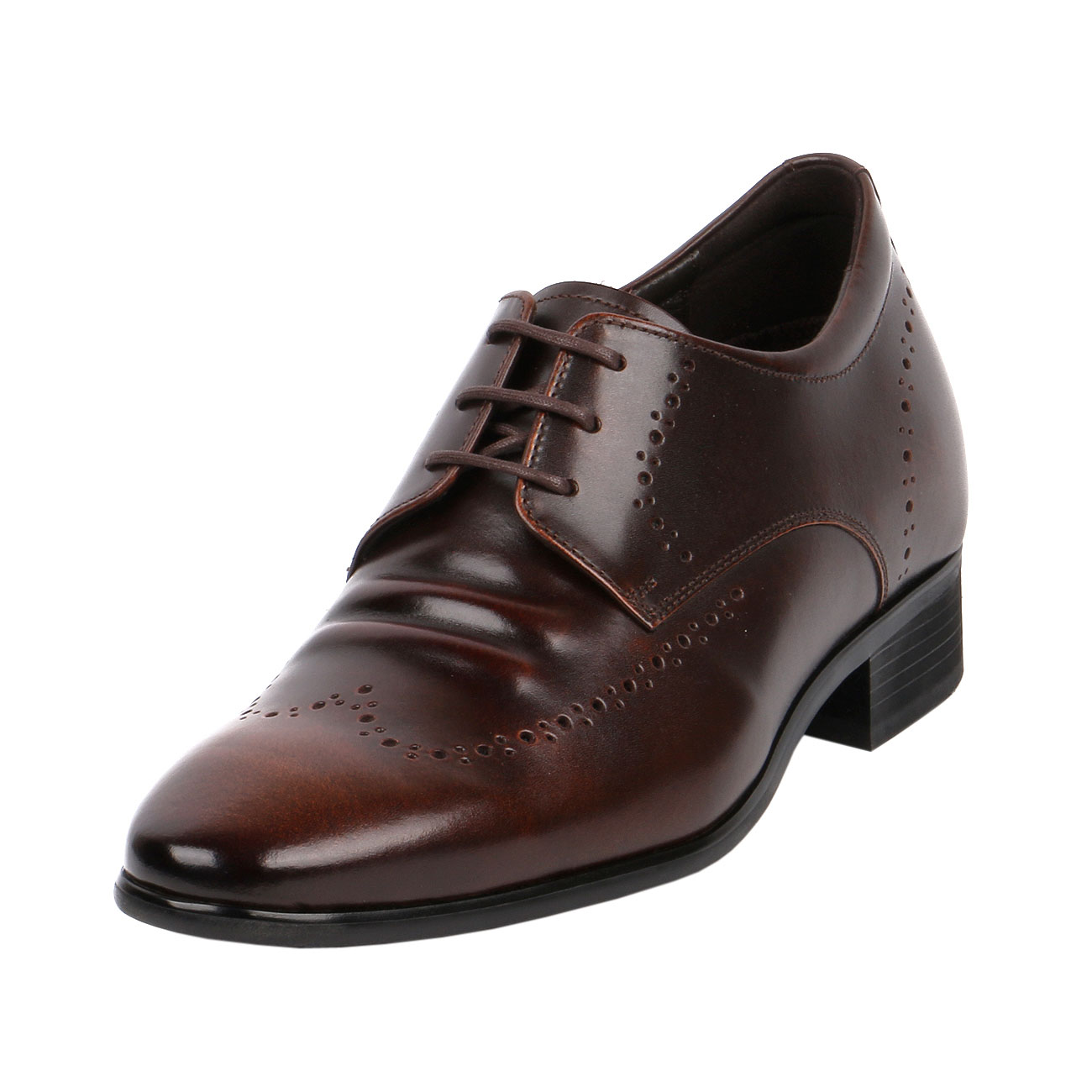 Brown Fusion Wingtip Derby Style Decorative Punching Gentlemen Leather Dress  with Elongated Pointy-1
