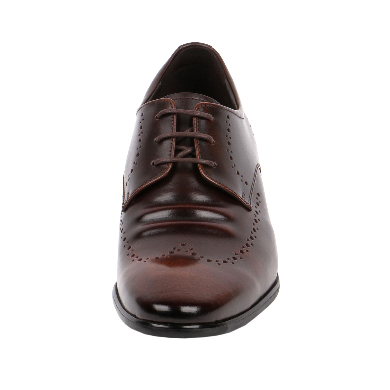 Brown Fusion Wingtip Derby Style Decorative Punching Gentlemen Leather Dress  with Elongated Pointy-2