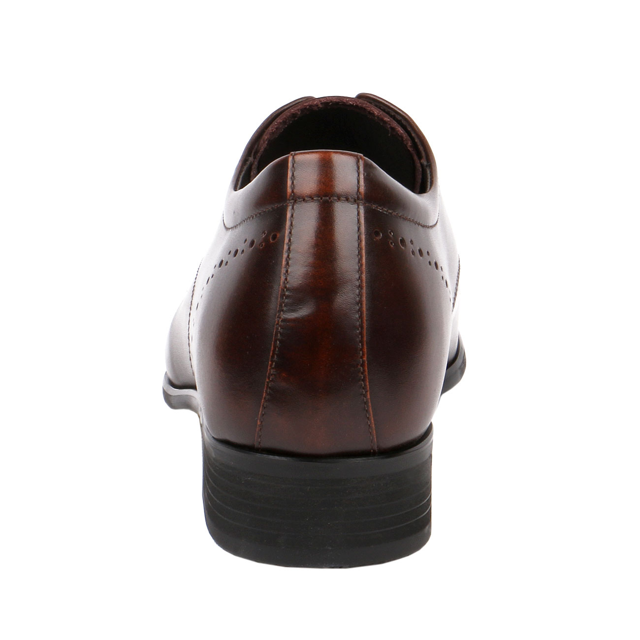 Brown Fusion Wingtip Derby Style Decorative Punching Gentlemen Leather Dress  with Elongated Pointy-3
