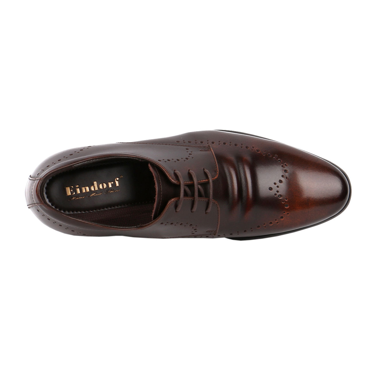 Brown Fusion Wingtip Derby Style Decorative Punching Gentlemen Leather Dress  with Elongated Pointy-4