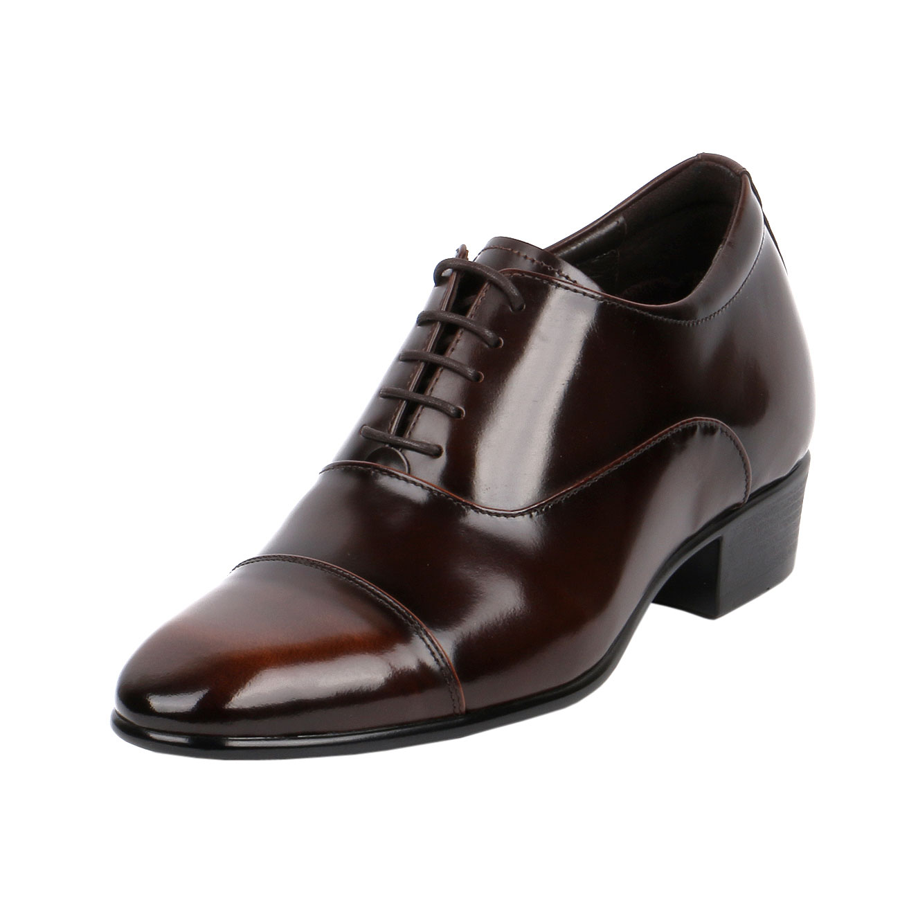Classic A Cap-Toe Oxford Shoe With Two Tone Brown Semi Glossy  Formal, Elegant & Dressy - Eindrof-1