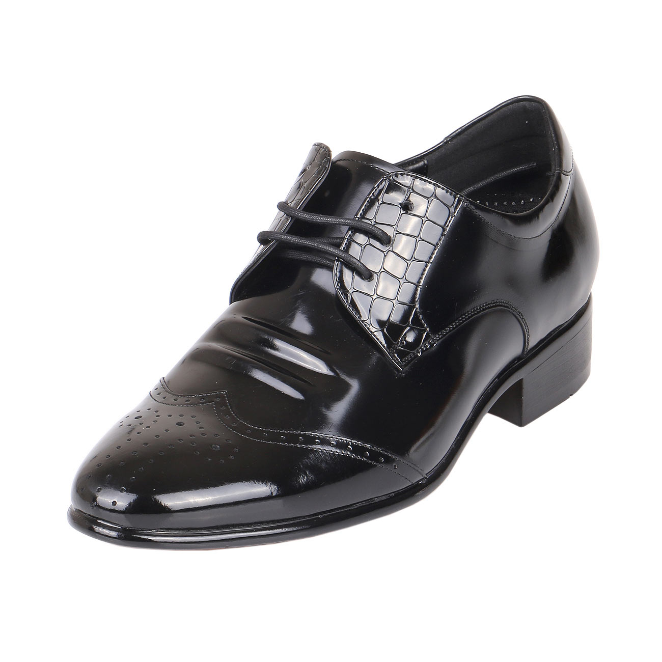 Men's Height Heels Glossy Wing Tip Leather Black Shoes 2.4